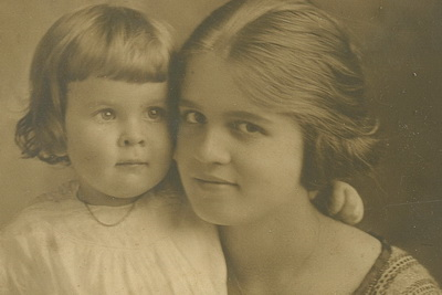 Melba at age 14, with her sister, Zebbie